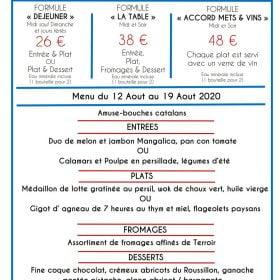 Valmy - Menu du 12 aout au 19 aout 2020